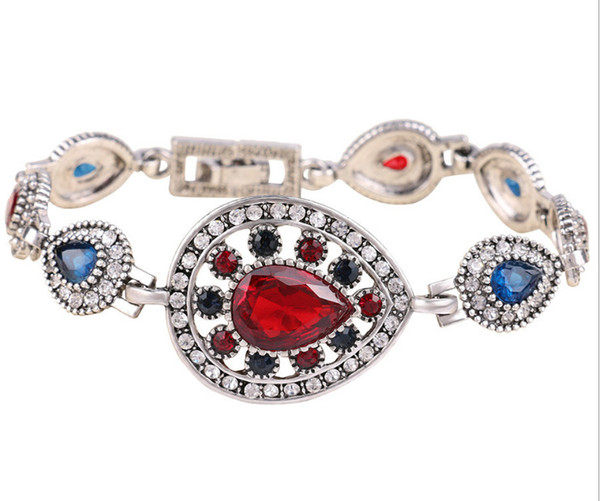 Beautiful and Nice Delicate Tibet silver water-drop bracelet with multicoloured gemstones for women and girls Jewellery