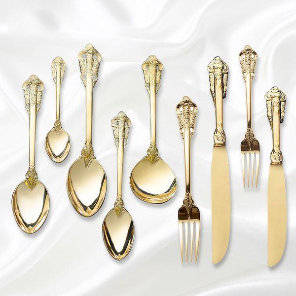 Retro Vintage Embossed Carve Gold Tableware Set 304 Stainless Steel Silver Gold Knife Forks Western Food Dinner Cutleries 4pcs D19011702