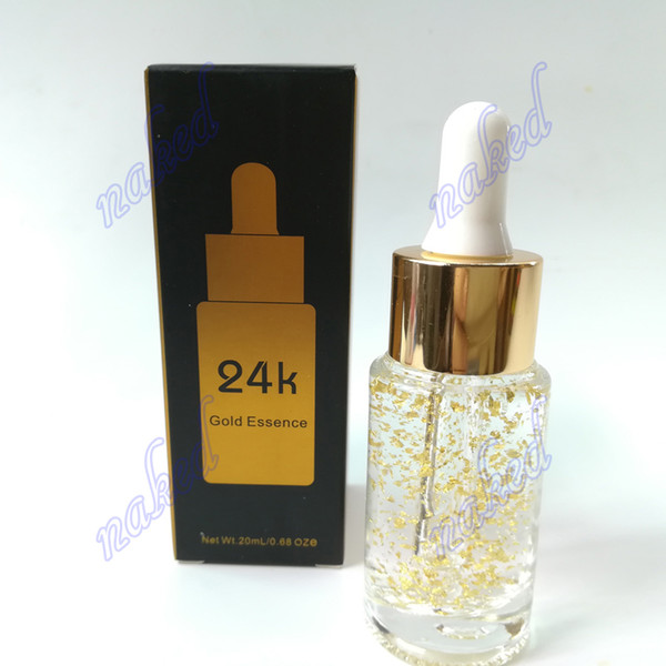 private label 24k essence Gold skin makeup primer by Dropper glass bottle 20ml face cream no logo pack