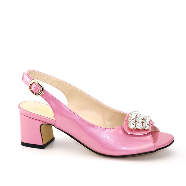 Pink Color Elegant PU leather Wedding Shoes Italian Women Sandals Shoe for Party African Wedding High Heels Slip on Women Pumps