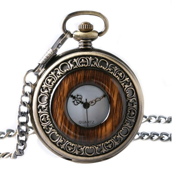 Vintage Wood Round Case Pocket Watch  Quartz Analog Half Hunter for Men Women Fob Wooden Watch with Chain Gift Bag Ulzzang