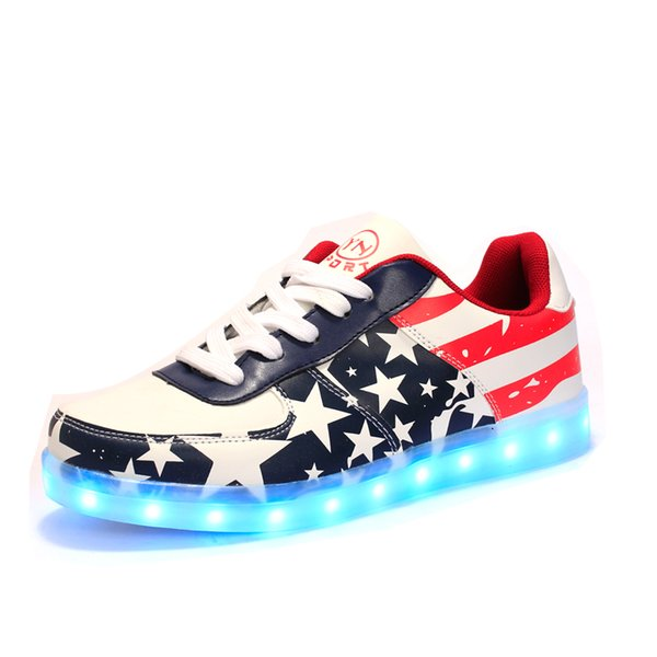 LED Light Shoes Spring And Autumn Men Casual Shoes For Adults unisex USB Charging Luminous Shoes Lace Up For Lovers