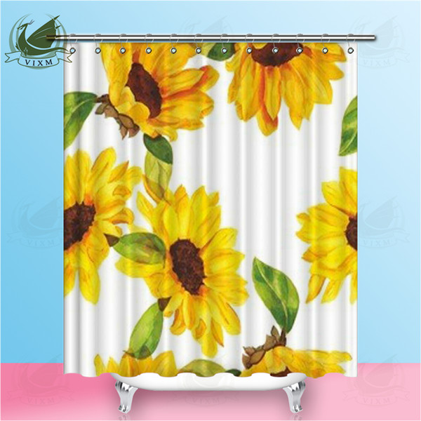 Vixm Nature Plant Yellow Sunflower Shower Curtains Hand Drawn Summer Style Waterproof Polyester Fabric Curtains For Home Decor