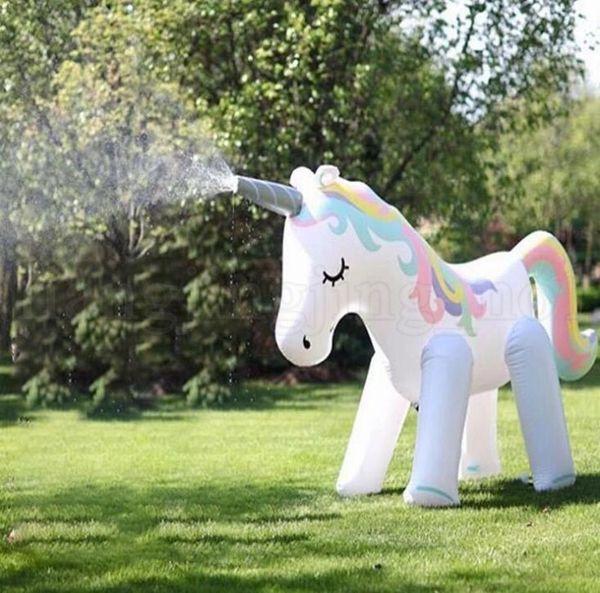 Tamaño grande Juguete de agua inflable Unicornio Agua en aerosol Unicornio Verano para niños Piscina al aire libre Piscina de playa Jugar The Lawn Play LJJK1483