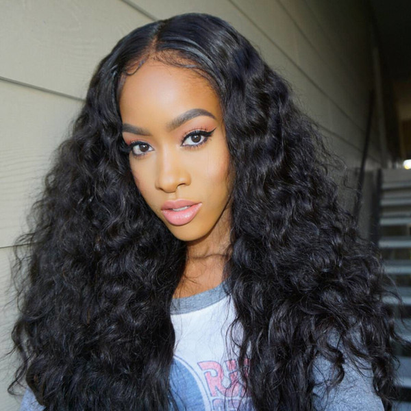 Brazilian virgin full lace hair wigs lace front human hair wigs natural color deep wave with baby hair no shedding can be dyed