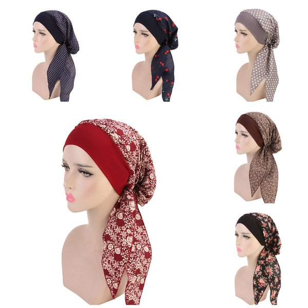 Fashion Women Elastic Inner Hijabs Hat Pastoral Style Lady Hair Bands Fashion Muslim Turban Hijabs Hats Indian Caps Wrap Cap
