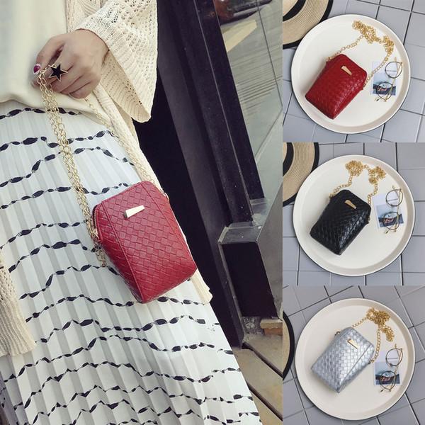 handtassen damsac de plage sac bandouliere femme Fashion Women Chain Bag Weave Leather Bag Crossbody Handle Phone Bags FI27