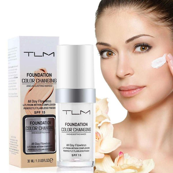 TLM 30ml Flawless Colour Changing Foundation Makeup Base Warm Skin Tone Nude Face Moisturizing Liquid Cover Concealer Long-Lasting