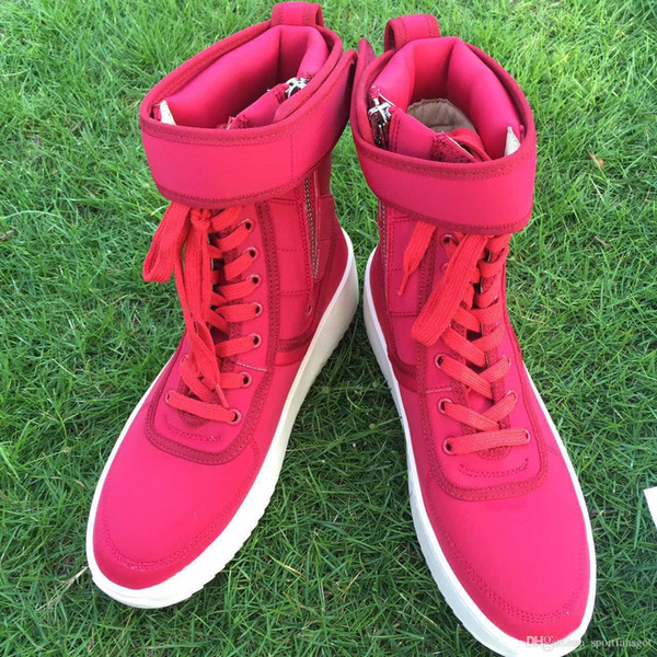 Fog boots Red Black Grey 2017 season 5 fear of god Boots With Box military boots platform Men women leather shoes size 36-45