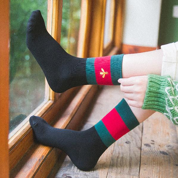 Mulheres designer de meia estudante de skate de algodão retro costura borboleta tubo de bordado japonês faculdade estudante vento meias de skate 2019