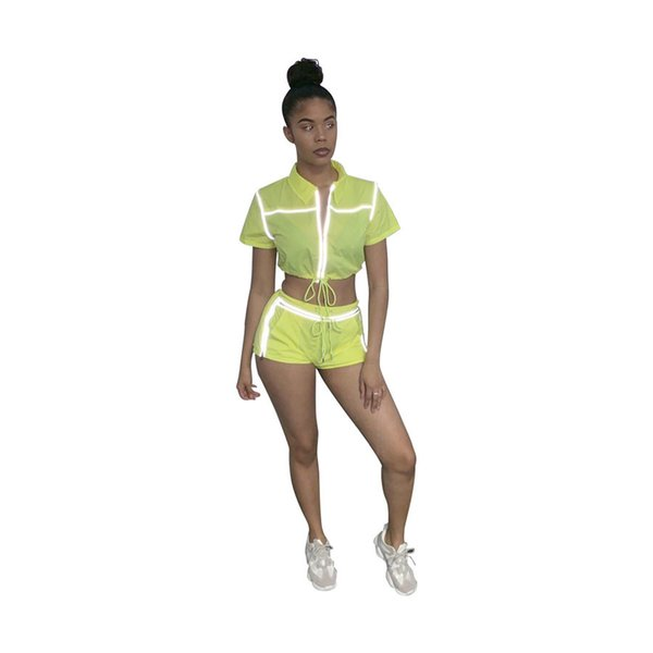 women sets reflective striped splicing zipper up short sleeve trench shorts suit two piece set sporty tracksuit 2 color