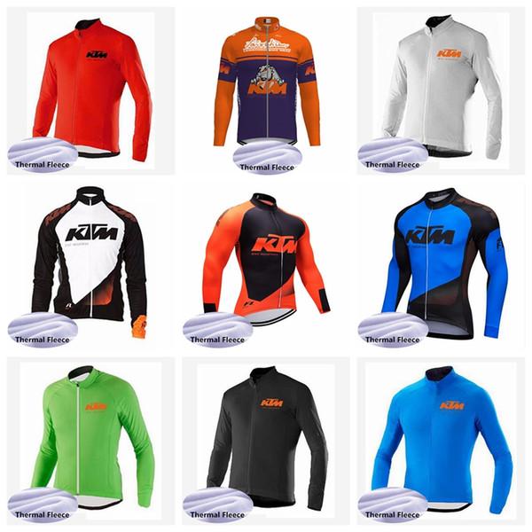 Equipe KTM mens Ciclismo Inverno Térmica de lã Tops jersey Manter quente personalizável de manga Longa Roupas de equitação Q62031