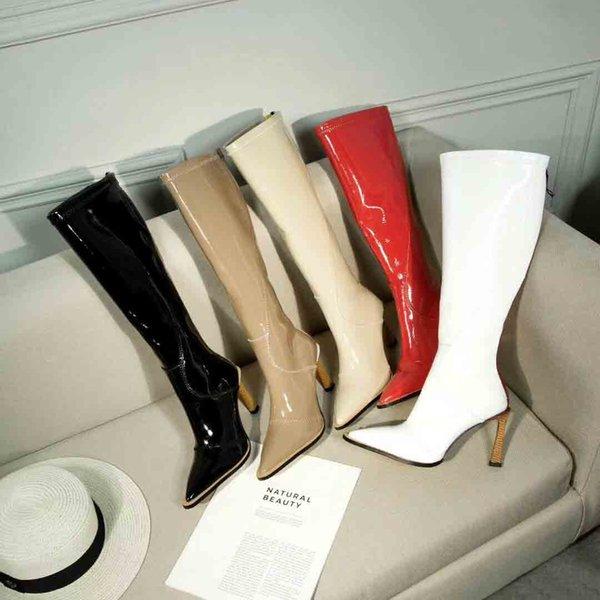 Горячие продажи Новый дизайн женщин колено высокие сапоги, зимние моды женские высокие каблуки сапоги, роскошные звезды молнии сапоги, 9.5cm высокие каблуки сапоги