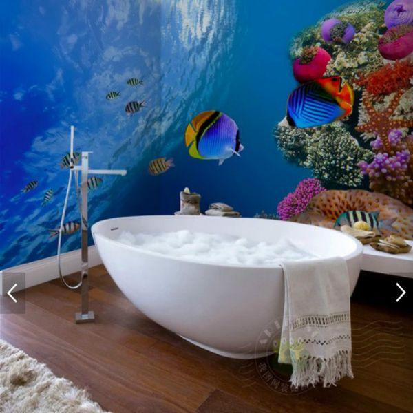 Großhandel Fantasie Unterwasserwelt Tapete Wasserdichte Bunte Wandbilder  Für Badezimmer Tapeten Wohnkultur 3d Tapete Für Kinderzimmer Tapeten Von ...