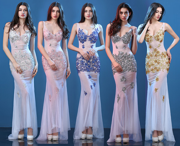 Sexy Lace Evening Dresses New Party Catwalk Sexy Nightclub Perspective Lace Party Dresses Net Yarn Fish Tail Prom Dresse