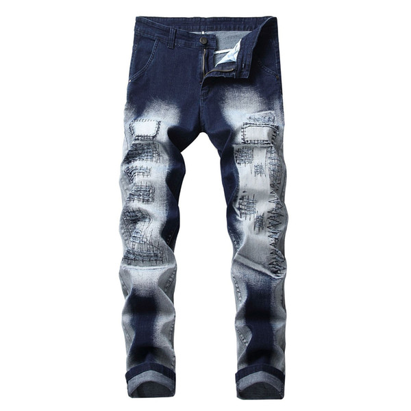 Vintage Cool Streetwear Men Hip Hop Jeans Casual Novelty Punk Rock Trousers 2019 Big Size Pant Male Elegant Business Jeans
