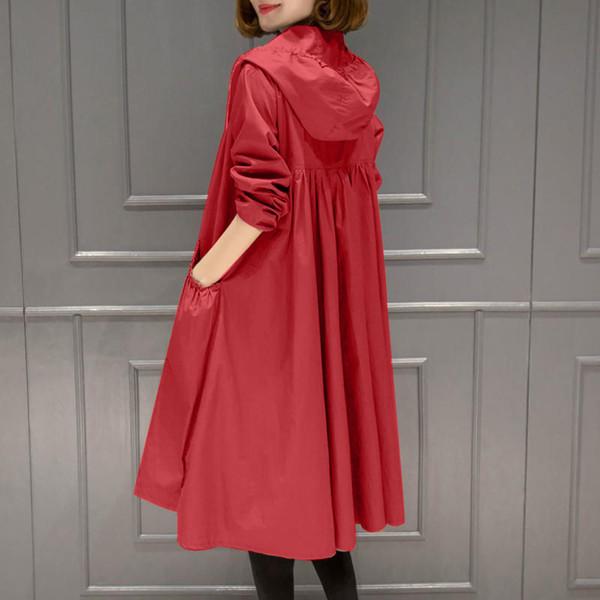 2019 New Spring Autunno Donna Casual Allentato Plus Size Pieghettato Con Cappuccio Trench Medio-Lungo Femminile Elegante Zipper Giacca A Vento R137