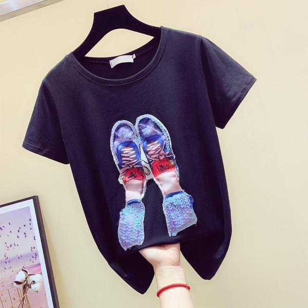 2019 Tees D'été Chemises Femmes À Manches Courtes T-shirt Femme Shining Chaussures Étudiant Blanc Chemise T-shirt Tops Undershirt