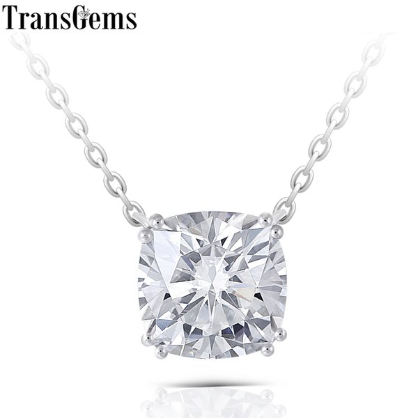 Transgems Solid 14k 585 White Gold 2ct 7.5mm Cushion Cut F Color Moissanite Pendant Necklace For Women Wedding Gift Classic Type