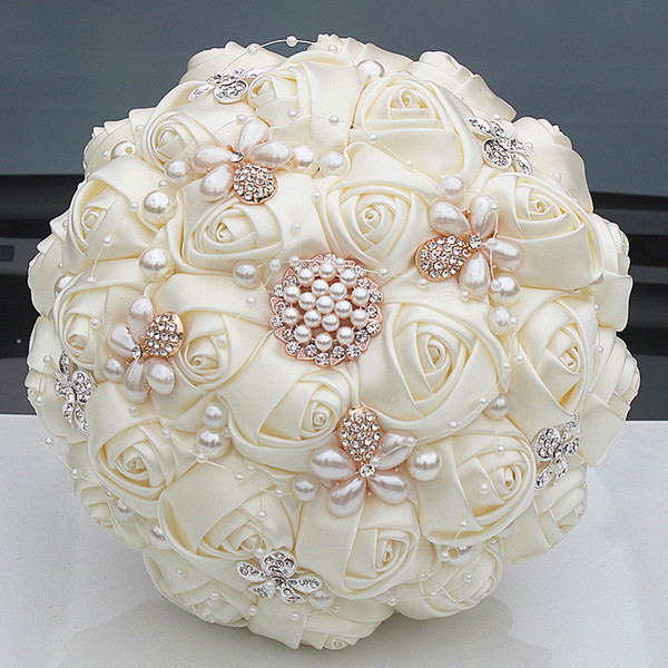 Gorgeous Crystal Ivory Wedding Bouquet Brooch Bowknot Wedding Decoration Artifical Flowers Bridal Bouquets Wedding W252-17 C18112601
