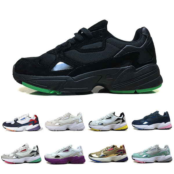 Acheter Adidas Falcon Triple Black White Falcon W Running Shoes For Women Men Designer Sports Sneakers Runner Casual Traners Luxury Shoes Size 36 45