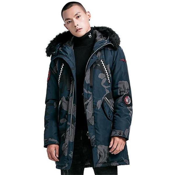 2018 New Quality Parka Men Winter Long Jacket Men Hooded Thick Cotton-Padded Jacket Mens Parka Coat