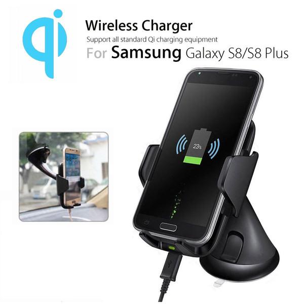 Universale 2 in 1 5W Qi Wireless Car Charger Pad supporto per telefono cellulare parabrezza supporto ventosa clip per iPhone XR XS MAS