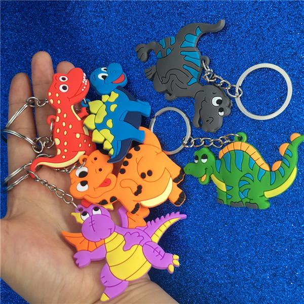 Dinosaurio de dibujos animados llavero de plástico lindo animal colorido dinosaurio llavero llaveros anillos bolsa cuelga joyería de moda Will y Sandy DropShip 340110