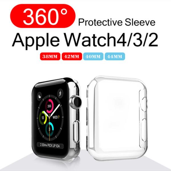Alta calidad Ultra Thin Clear Transparent Sost Piel de la cubierta de TPU para Apple Watch Series 4 3 2 de 38/40/42 / 44mm iwatch Apple Watch Case