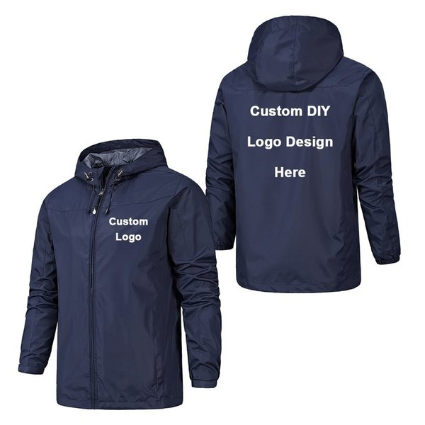 Spring Autumn Custom Logo Design Men Jacket DIY Printing Zipper Coat Sweater Windproof Waterproof Jacket Unisex Outdoor Jackets