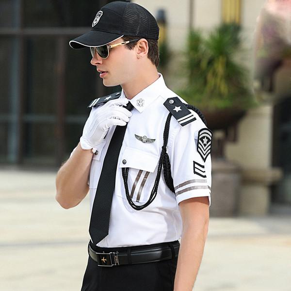 Primavera Long / Short Vestuário manga propriedade de segurança de imóveis camisa do uniforme de segurança roupas de trabalho concierge + calça + ternos Acessórios
