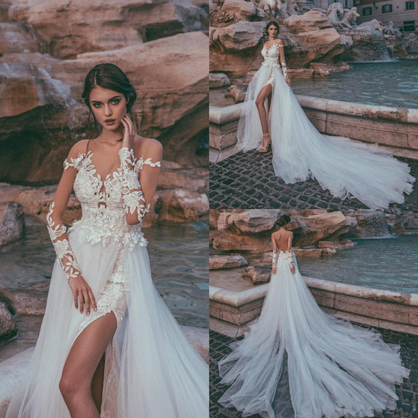 Julia Kontogruni 2020 Beach Wedding Dresses Sheer Neck Long Sleeve Lace Applique Bridal Gowns Side Split Brides Dress Vestido De Novia