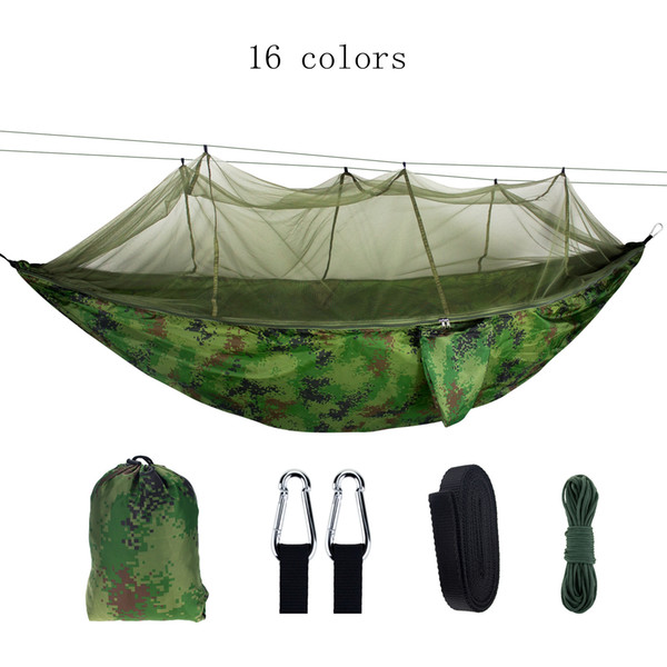 Ultralight High Strength Parachute Swing Hammock Hunting With Mosquito Net Travel Double Person Hamak For Camping Outdoor MMA1948
