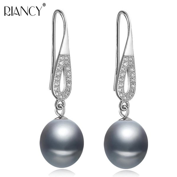 Genuine freshwater gray pearl earrings wedding natural pearl with 925 sterling silver earring jewelry for girlfriend gift