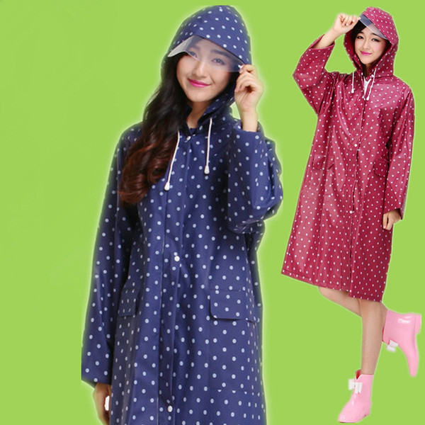 2019 Polka Dot Style Girl Lady Hooded Raincoat Women Outdoor Travel Waterproof Riding Cloth Rain Coat Poncho Long Rainwear IC883