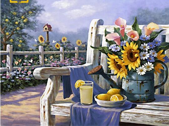 40x50 cm Sol flores jardín imágenes para colorear por números en lienzo para la pared de la cocina decoración del hogar Pinturas acrílicas pinturas