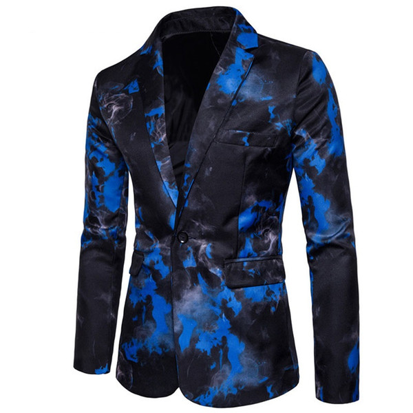 2019 New Mens Slim Fit Suit Jacket One Button Ink Print Blazer Men Chinese Print Style Luxury Suit Jacket Prom Coat Dress