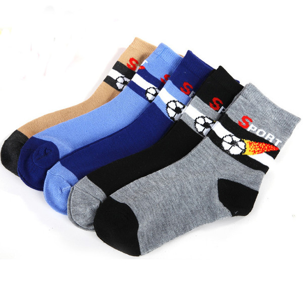 34029G 5 pairs/1 lot Spring & Autumn New Kids Socks Cotton Stripe Football Socks 1-10 year Children Boys Socks For Girls