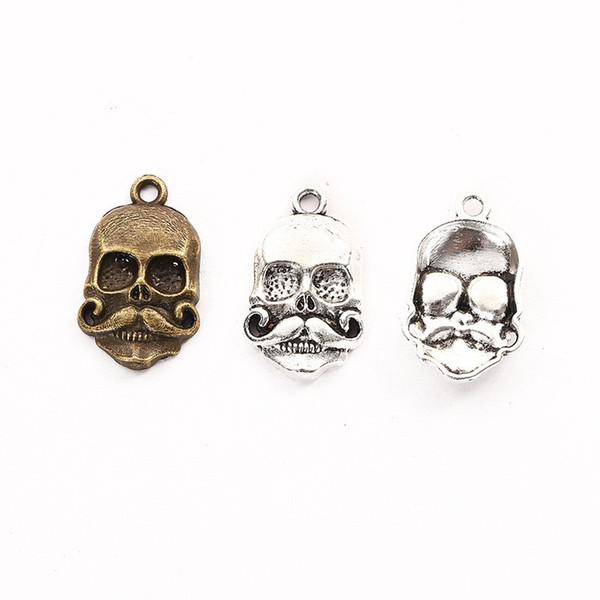 100pcs 22 * 13mm antico bronze argento scheletro pendenti charms in metallo per la collana orecchino gioielli fai da te