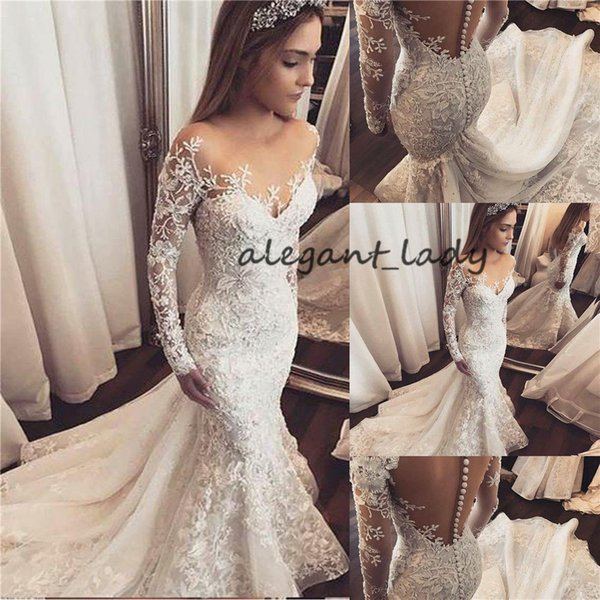 Mermaid Long Sleeve Lace Beading Vintage Wedding Dresses Luxury Sexy sheer jewel neck covered buttons Bridal Gown Robe De Mariee