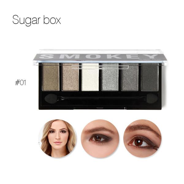 6 Color Smoky Eyeshadow Fashion Make up Matte Palette Eye Shadow Contour Powder Kit Shimmer Eyes Makeup Natural Waterproof Nude
