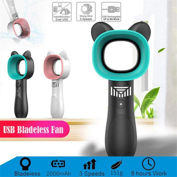 Protable Hand Bladeless Ventilator Außen USB-Mini-Luftkühler kein Blatt-Lüfter Desktop-Bladeless Fan Wiederaufladbare Quiet