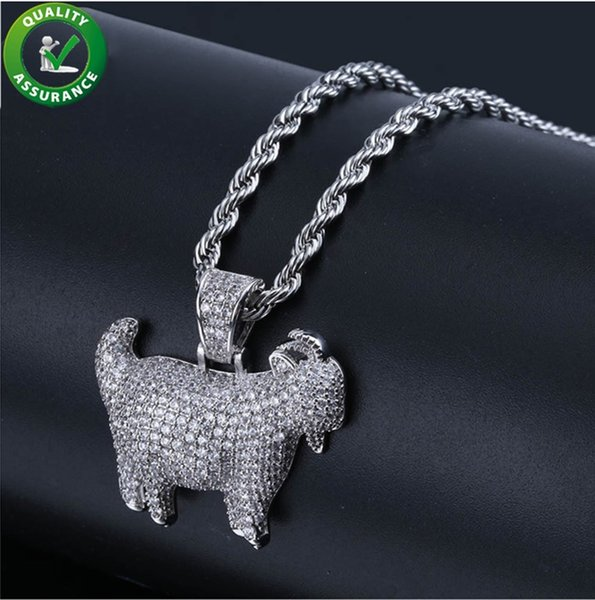 Hip Hop Jewelry Iced Out Chains Goat Pendant Designer Necklace Mens Gold Rapper Chain Luxury Diamond Animal Charms Bling Cuban Link Hiphop