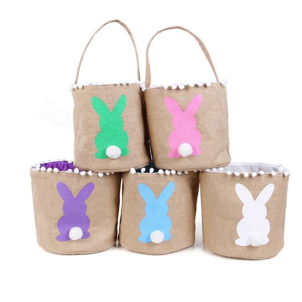 Linge de Pâques Bucket Lapin Paniers Queue Enfants Bonbons Cadeaux Fête Barrel Fête Candies Jute Sacs à main Oeufs Tassel Bac de rangement Pail FFA3619D