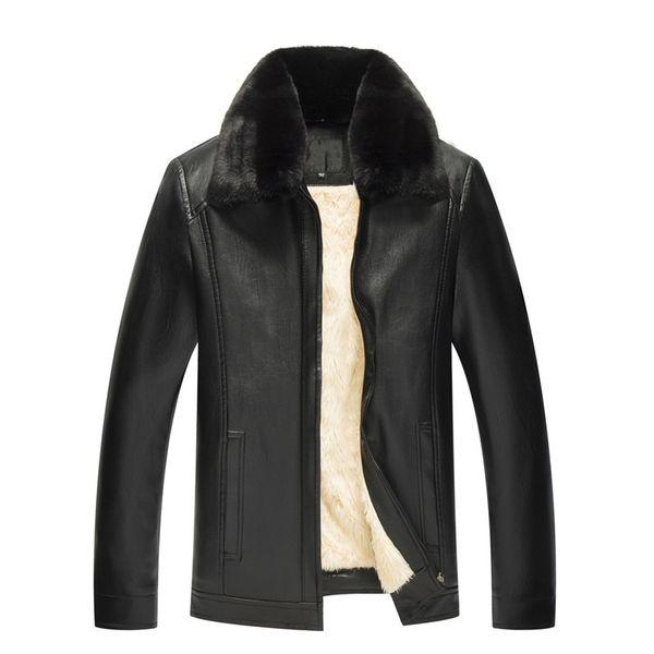2018 Winter Men's Leather Jacket Coat Men Casual Motorcycle Leather Coat Mens Jackets Windbreaker Warm Wool Liner PU Coats Male
