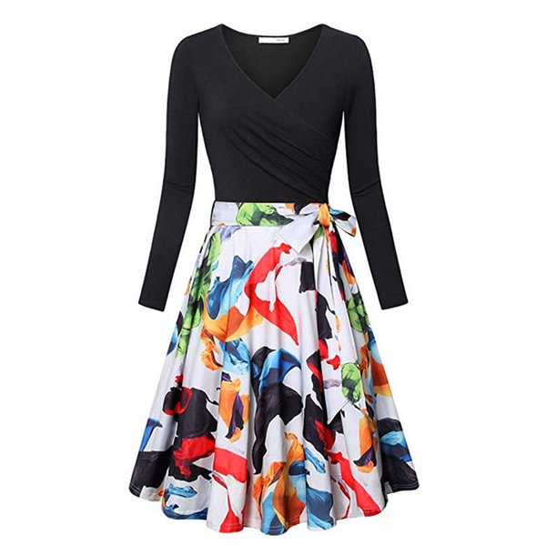 Elegant Party Cute Spring Dress Women Vintage Floral Print Patchwork Dress V Neck Long Sleeve Slim A Line Dresses Vestidos Belt