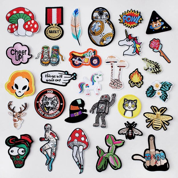 Mushroom Patch Badges Embroidered Applique Sewing Iron On Clothes Stickers Garment Apparel Accessories
