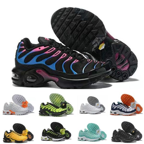 Hot 2019 TN Childrens Athletic Shoes Kids Boys Basketball Shoes Child Huarache Legend Blue Sneakers Size 28-35