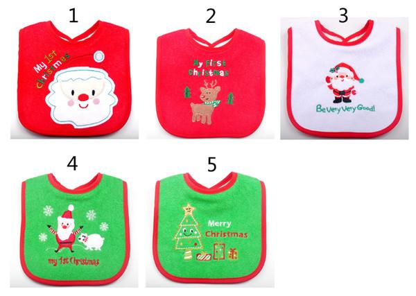 Weihnachtskarikaturen INS Lätzchen 2018 Neue Baby Mädchen Jungen Spucktücher wasserdicht Weihnachtsmann Elch Lätzchen Spucktücher B