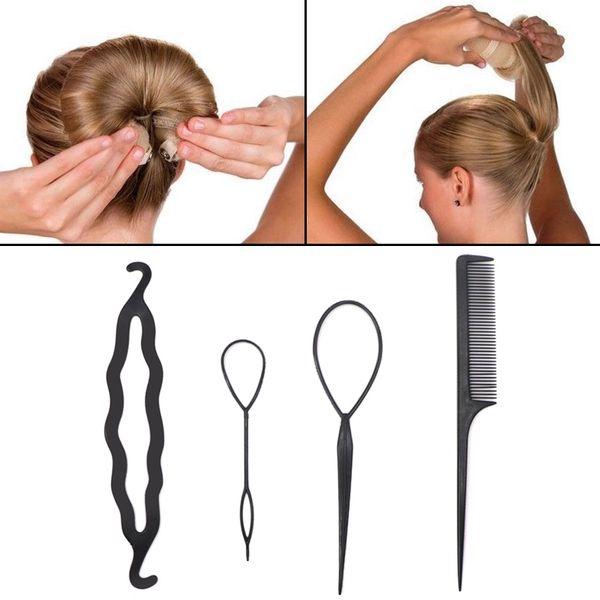 4pcs/set Girls Hair Braid Tool 6 color Hair Accessory Twist Styling Clip Stick Bun Maker Comb Hair Pin Stick